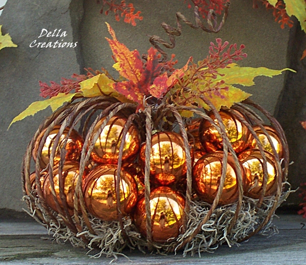 "Rustic 8"" Diameter Wire Pumpkin Filled with Shiny Burnt Orange Colored Balls"