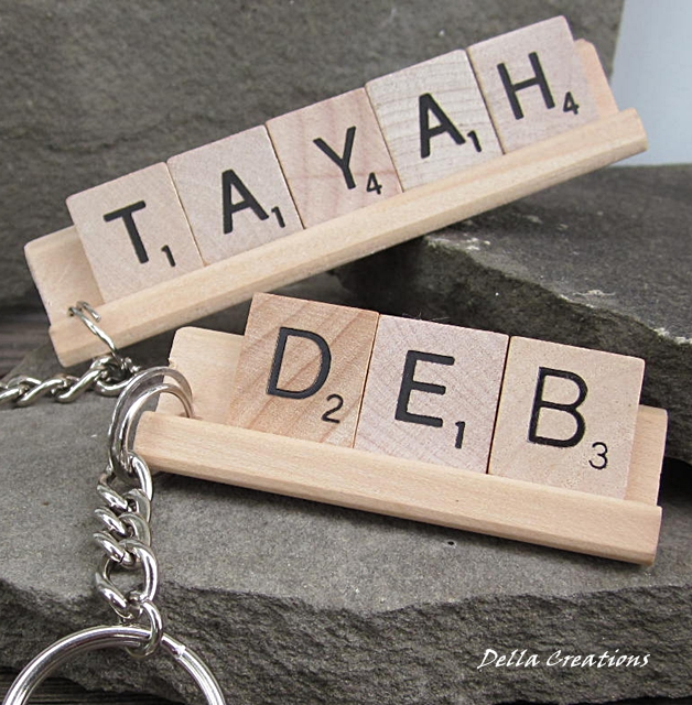 Personalized Scrabble Tile Keychain - 3 to 5 Letters