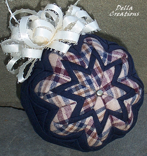 3-inch Quilted Ornament - Navy Blue w/Burgundy, Blue, and Tan Checked Homespun with Cream Satin Bow