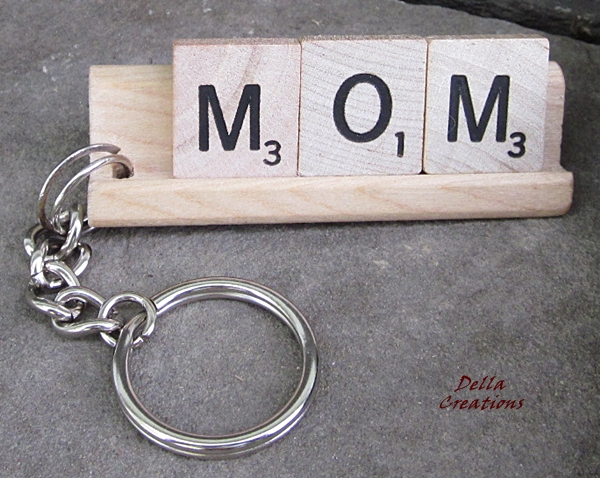 MOM Scrabble Tile Keychain